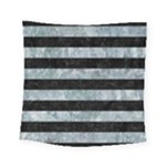 STRIPES2 BLACK MARBLE & ICE CRYSTALS Square Tapestry (Small)