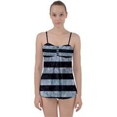 Stripes2 Black Marble & Ice Crystals Babydoll Tankini Set by trendistuff