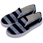 STRIPES2 BLACK MARBLE & ICE CRYSTALS Kids  Canvas Slip Ons