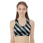 STRIPES3 BLACK MARBLE & ICE CRYSTALS Sports Bra with Border