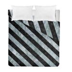 STRIPES3 BLACK MARBLE & ICE CRYSTALS Duvet Cover Double Side (Full/ Double Size)