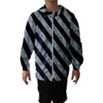 STRIPES3 BLACK MARBLE & ICE CRYSTALS Hooded Wind Breaker (Kids)