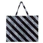 STRIPES3 BLACK MARBLE & ICE CRYSTALS Zipper Large Tote Bag