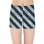 STRIPES3 BLACK MARBLE & ICE CRYSTALS Kids Sports Shorts