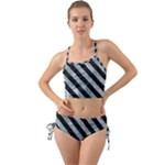STRIPES3 BLACK MARBLE & ICE CRYSTALS Mini Tank Bikini Set