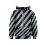 STRIPES3 BLACK MARBLE & ICE CRYSTALS (R) Kids  Zipper Hoodie