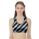 STRIPES3 BLACK MARBLE & ICE CRYSTALS (R) Sports Bra with Border