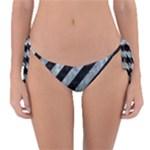 STRIPES3 BLACK MARBLE & ICE CRYSTALS (R) Reversible Bikini Bottom