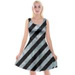 STRIPES3 BLACK MARBLE & ICE CRYSTALS (R) Reversible Velvet Sleeveless Dress