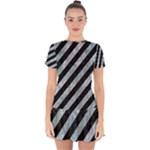 STRIPES3 BLACK MARBLE & ICE CRYSTALS (R) Drop Hem Mini Chiffon Dress