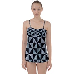 Triangle1 Black Marble & Ice Crystals Babydoll Tankini Set by trendistuff