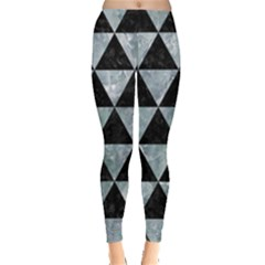 Triangle3 Black Marble & Ice Crystals Leggings  by trendistuff