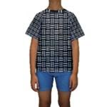 WOVEN1 BLACK MARBLE & ICE CRYSTALS (R) Kids  Short Sleeve Swimwear
