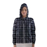 WOVEN1 BLACK MARBLE & ICE CRYSTALS (R) Hooded Wind Breaker (Women)
