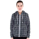 WOVEN1 BLACK MARBLE & ICE CRYSTALS (R) Women s Zipper Hoodie