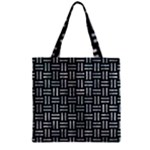 WOVEN1 BLACK MARBLE & ICE CRYSTALS (R) Zipper Grocery Tote Bag