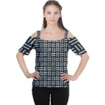 WOVEN1 BLACK MARBLE & ICE CRYSTALS (R) Cutout Shoulder Tee