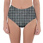 WOVEN1 BLACK MARBLE & ICE CRYSTALS (R) Reversible High-Waist Bikini Bottoms