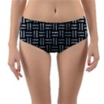 WOVEN1 BLACK MARBLE & ICE CRYSTALS (R) Reversible Mid-Waist Bikini Bottoms