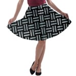 WOVEN1 BLACK MARBLE & ICE CRYSTALS (R) A-line Skater Skirt