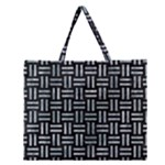 WOVEN1 BLACK MARBLE & ICE CRYSTALS (R) Zipper Large Tote Bag
