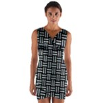 WOVEN1 BLACK MARBLE & ICE CRYSTALS (R) Wrap Front Bodycon Dress
