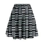 WOVEN1 BLACK MARBLE & ICE CRYSTALS (R) High Waist Skirt