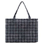 WOVEN1 BLACK MARBLE & ICE CRYSTALS (R) Zipper Medium Tote Bag