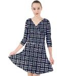 WOVEN1 BLACK MARBLE & ICE CRYSTALS (R) Quarter Sleeve Front Wrap Dress
