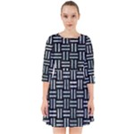 WOVEN1 BLACK MARBLE & ICE CRYSTALS (R) Smock Dress