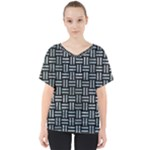 WOVEN1 BLACK MARBLE & ICE CRYSTALS (R) V-Neck Dolman Drape Top