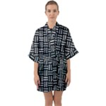 WOVEN1 BLACK MARBLE & ICE CRYSTALS (R) Quarter Sleeve Kimono Robe