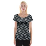 WOVEN2 BLACK MARBLE & ICE CRYSTALS (R) Cap Sleeve Tops