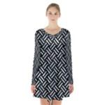 WOVEN2 BLACK MARBLE & ICE CRYSTALS (R) Long Sleeve Velvet V-neck Dress