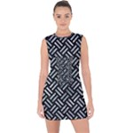 WOVEN2 BLACK MARBLE & ICE CRYSTALS (R) Lace Up Front Bodycon Dress