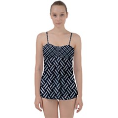 Woven2 Black Marble & Ice Crystals (r) Babydoll Tankini Set by trendistuff