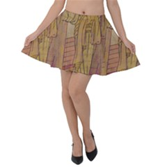 Japanese Geisha With Cat Illustration Velvet Skater Skirt by paulaoliveiradesign