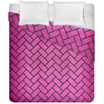 BRICK2 BLACK MARBLE & PINK BRUSHED METAL Duvet Cover Double Side (California King Size)