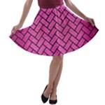 BRICK2 BLACK MARBLE & PINK BRUSHED METAL A-line Skater Skirt
