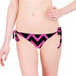 CHEVRON9 BLACK MARBLE & PINK BRUSHED METAL (R) Bikini Bottom