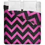 CHEVRON9 BLACK MARBLE & PINK BRUSHED METAL (R) Duvet Cover Double Side (California King Size)