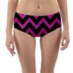 CHEVRON9 BLACK MARBLE & PINK BRUSHED METAL (R) Reversible Mid-Waist Bikini Bottoms