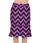 CHEVRON9 BLACK MARBLE & PINK BRUSHED METAL (R) Mermaid Skirt