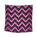 CHEVRON9 BLACK MARBLE & PINK BRUSHED METAL (R) Square Tapestry (Small)