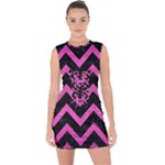 CHEVRON9 BLACK MARBLE & PINK BRUSHED METAL (R) Lace Up Front Bodycon Dress