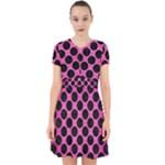 CIRCLES2 BLACK MARBLE & PINK BRUSHED METAL Adorable in Chiffon Dress