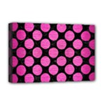 CIRCLES2 BLACK MARBLE & PINK BRUSHED METAL (R) Deluxe Canvas 18  x 12
