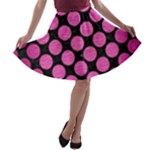 CIRCLES2 BLACK MARBLE & PINK BRUSHED METAL (R) A-line Skater Skirt