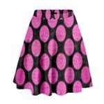 CIRCLES2 BLACK MARBLE & PINK BRUSHED METAL (R) High Waist Skirt