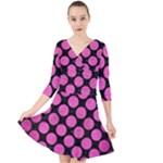 CIRCLES2 BLACK MARBLE & PINK BRUSHED METAL (R) Quarter Sleeve Front Wrap Dress